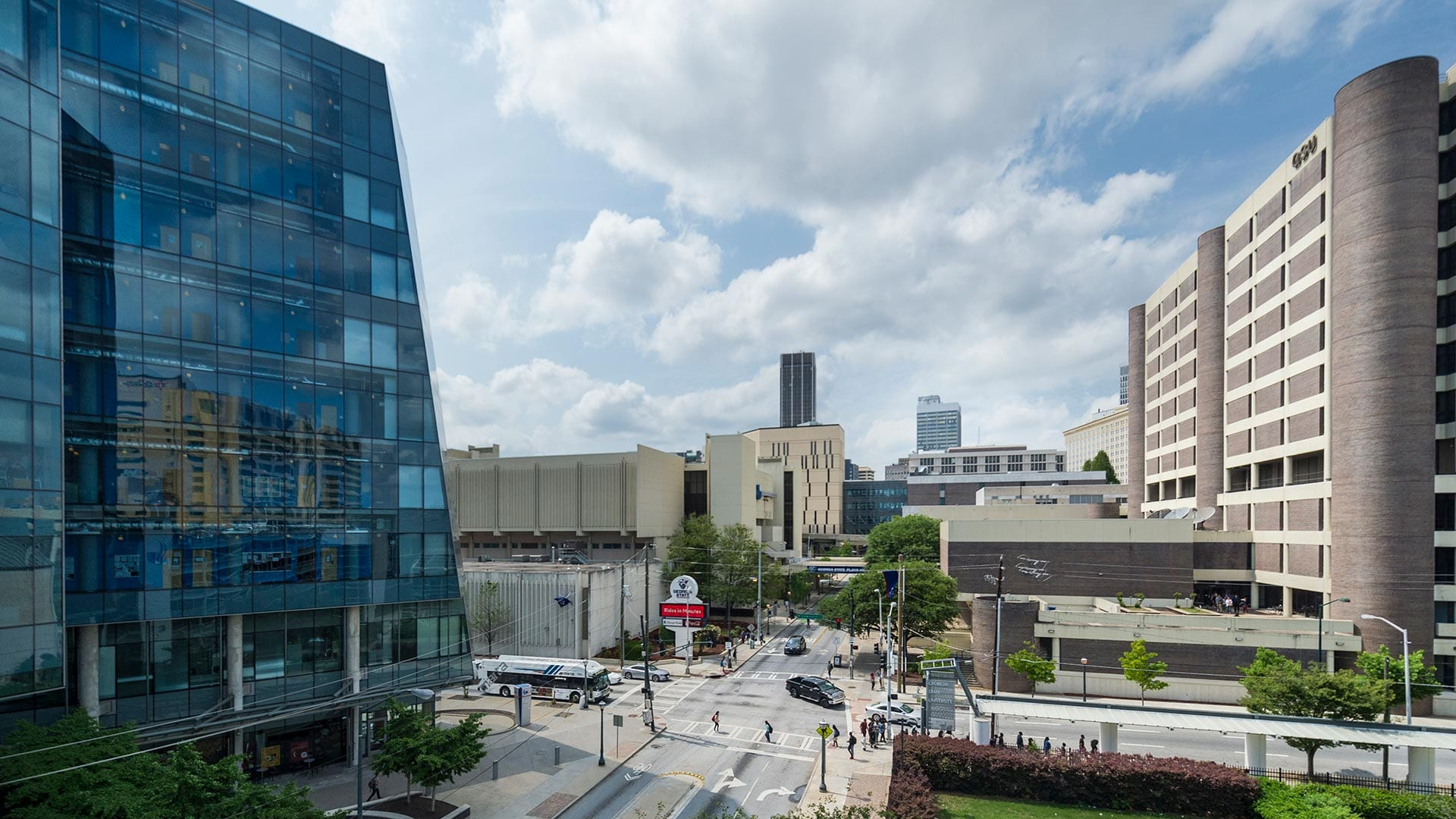 Street view of Piedmont road and the Petit Science Center glass building